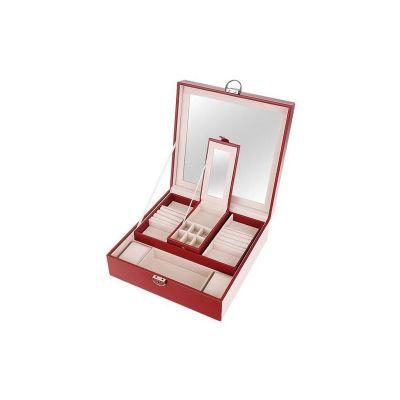 Κοσμηματοθήκη - Μπιζουτιέρα με Συρτάρι και Καθρέφτη από Δερματίνη Χρώματος Μπορντό 8891