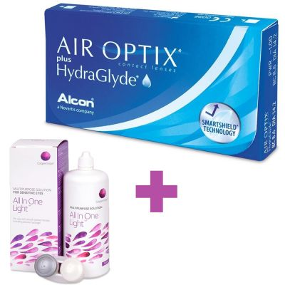 Air Optix Plus HydraGlyde + Υγρό Cooper Vision All In One Light 360 ml - Skroutz.com.cy