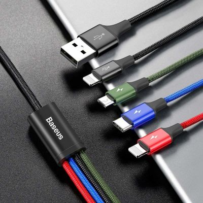 Baseus Καλώδιο Φόρτισης Rapid 4in1 Braided USB to Lightning / Type-C / 2x micro USB (CA1T4-C01) 3.5A 1.2m - skroutz.com.cy