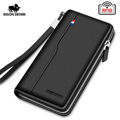 BISON DENIM Genuine Leather Men's Wallet RFID Blocking Long Purse Coin Case Passport Cover For Mens Credit Card Holder - skroutz.com.cy