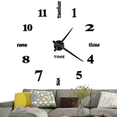 Εντυπωσιακό Τρισδιάστατο Ρολόι Τοίχου 120 x 120 εκ - Mαύρο - skroutz.com.cy