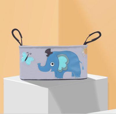Οργανωτής Τσάντας Ιδανικό για Βρεφικό Καρότσι με Θήκες για Μπιμπερό - Diaper Organizer Bag Stroller Organizer With Cup Holders - Blue elephant