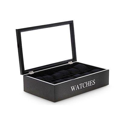 Κομψή Ξύλινη Θήκη Ωρολογιών και κοσμηματοθήκη 34x20x9cm με Βελούδινη εσωτερική επένδυση και 12 θέσεις σε Μαύρο χρώμα, Huismerk C378001 - Watch Cabinets & Cases - Skroutz.com.cy