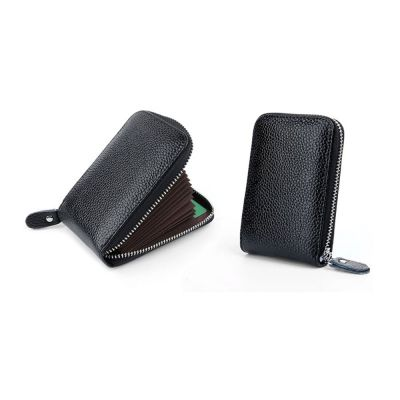 Δερμάτινο Πορτοφόλι για Πιστωτικές Κάρτες με Αντικλεπτική Προστασία RFID Χρώματος Μαύρο