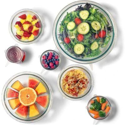 Επαναχρησιμοποιήσιμη Μεμβράνη Σιλικόνης Φαγητού 12 Τεμαχίων - Silicone Food Covers 12 Piece - Clear