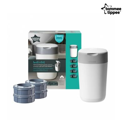 Tommee Tippee Twist and Click Κάδος Απόρριψης Πάνας & Κασέτα με Σακούλες + 4X REFILL - Twist and Click Sangetic Tec - skroutz.com.cy