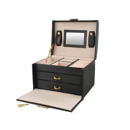 Κοσμηματοθήκη Μπιζουτιέρα σε Μαύρο χρώμα με καθρεφτάκι, κλειδί και συρτάρια, 17.5x13.8x13.5cm - 6348  - Skroutz.com.cy