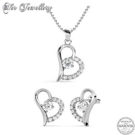 Σετ Κολιέ & Σκουλαρίκια Heart απο  Swarovski της Her Jewellery