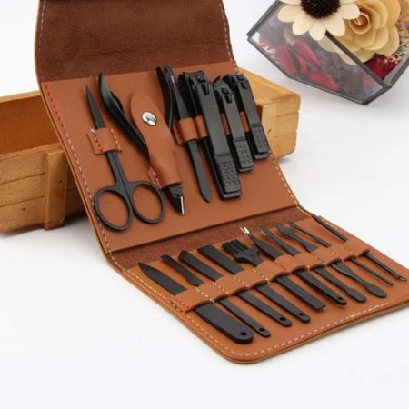 Σετ εργαλείων νυχιών 16 τεμαχίων με θήκη ταξιδιού Γκρί - 16 Piece Nail Tool Set With Travel Case Grey