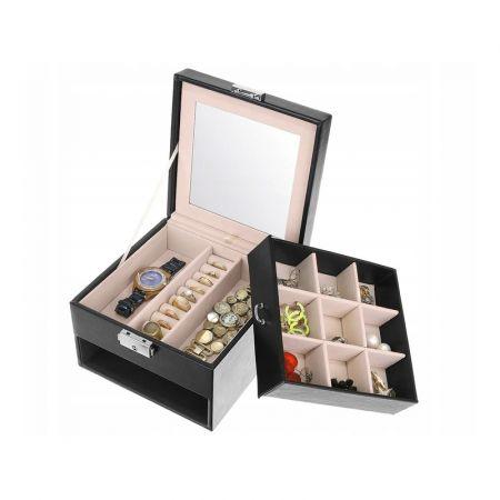 Κοσμηματοθήκη - Μπιζουτιέρα με Συρτάρι και Καθρέφτη από Δερματίνη Χρώματος Μαύρο 8898 jewelry box - Skroutz.com.cy