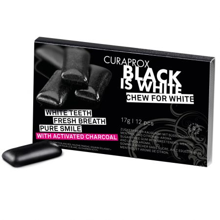 Curaprox Black is White Chewing Gum, 12 pcs