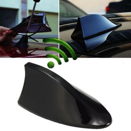 Aυτοκόλλητη κεραία αυτοκινήτου οροφής Shark Fin - Μαύρη - 53865