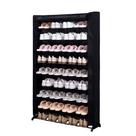 Herzberg Παπουτσοθήκη Σταντ με 9 ράφια για έως και 45 ζευγάρια σε μαύρο χρώμα 91x16x139 cm, HG-8077 - Skroutz.com.cy