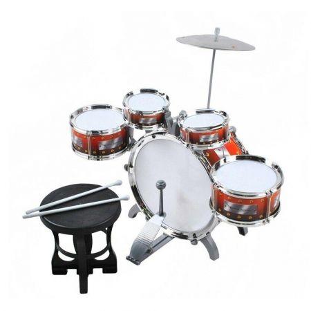 Σετ 5 τεμαχίων Παιδικά Τύμπανα (Drums) με σκαμπό, μπαγκέτες και πιατίνι, διαστάσεις 57x40x50 εκατοστά, κατάλληλο για ηλικίες 3 ετών και άνω
