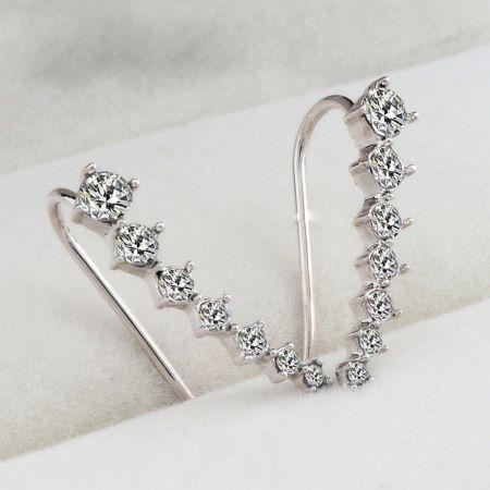 Σκουλαρίκια Rainbery Bar Shape - Silver & Clear - Skroutz.com.cy