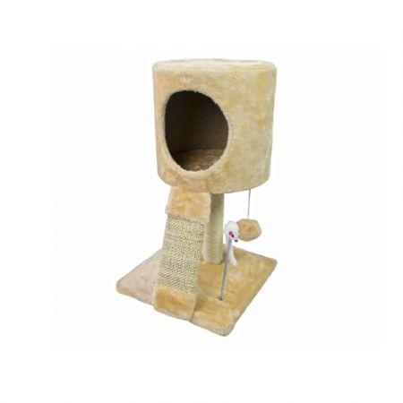 Βελούδινο Δέντρο για Γάτες Ονυχοδρόμιο Γατόδεντρο με φωλιά και παιχνίδι σε μπεζ χρώμα, 30x30x51 cm - 03921