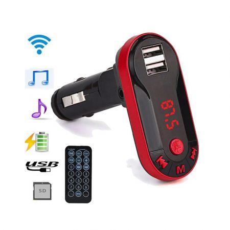 FM Transmitter για τη μετάδοση μουσικής με Bluetooth, USB/SD και φορτιστή - Κόκκινο - 53607