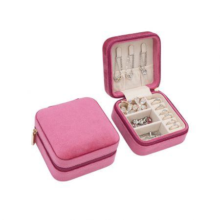 Βελούδινη Κοσμηματοθήκη - Μπιζουτιέρα 10 x 10 x 5 cm Χρώματος Ρόζ - Jewelry Organizer - Pink Velvet - Kroutz.com.cy