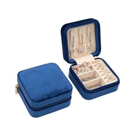 Βελούδινη Κοσμηματοθήκη - Μπιζουτιέρα 10 x 10 x 5 cm Χρώματος Μπλε - Jewelry Organizer - Blue Velvet - Skroutz.com.cy
