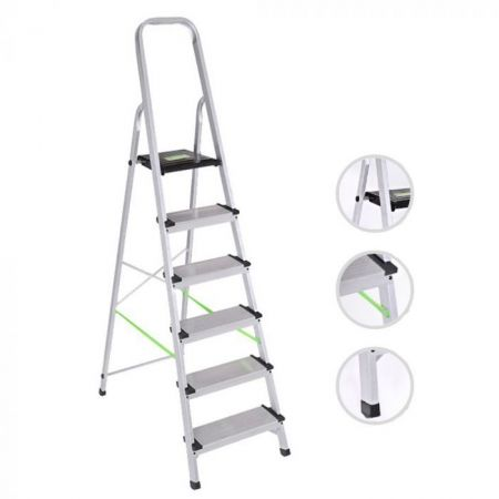 Σκάλα Αλουμινίου Hobby XXL 5+1 Σκαλοπάτια XL405 - ΦΑΡΔΥ ΣΚΑΛΟΠΑΤΙ 13cm