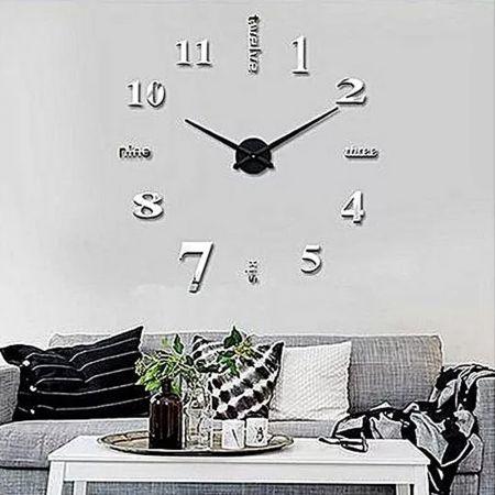 Εντυπωσιακό Τρισδιάστατο Ρολόι Τοίχου 120 x 120 εκ - Ασημί - skroutz.com.cy