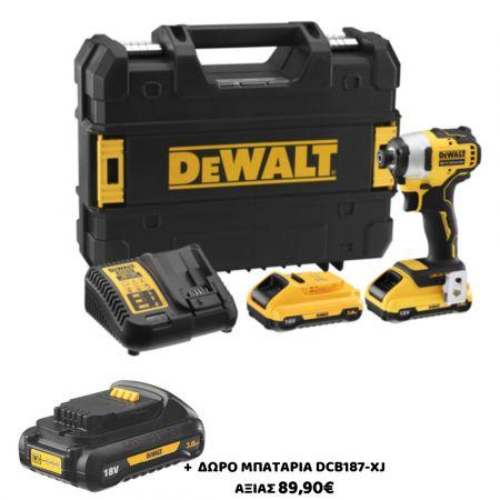 DEWALT - DCF809L2T-QW Παλμικό Κατσαβίδι 18V XR Li-Ion Brushless σε Βαλιτσάκι (2x3.0Ah) + ΔΩΡΟ! - skroutz.com.cy