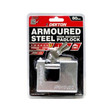 DEKTON 80MM ARMOURED STEEL HIGH SECURITY PADLOCK WITH 3 KEYS DT71020 - skroutz.com.cy