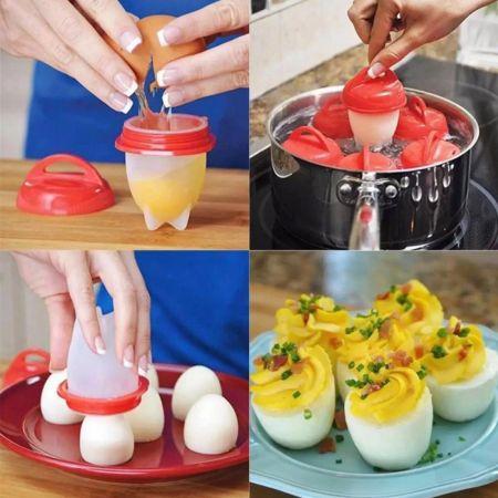 Σιλικονούχες φόρμες για το βράσιμο αυγού σετ 6 τμχ