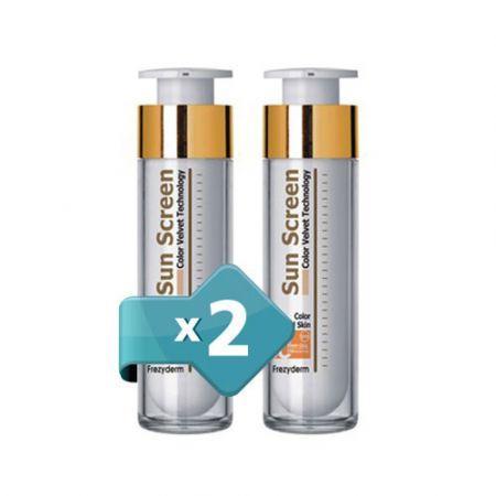 Δύο (2) Τεμάχια Frezyderm Sunscreen Second Skin (Velvet) Face SPF50+ Color  50ml (Αντηλιακή Προσώπου με Χρώμα) - skroutz.com.cy