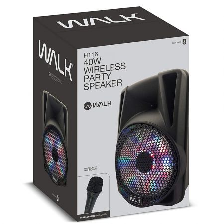 Walk Audio H116 40W Party Speaker, Floor standing Speaker With LED's And Remote Control