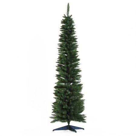Χριστουγεννιάτικο Δέντρο 2.10m Slimline Χρώματος Πράσινο HOMCOM 830-196
