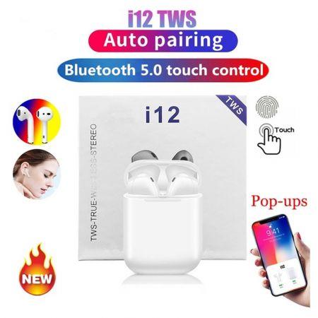 Airpods Ασύρματα Ακουστικά Bluetooth i12 TWS Wireless Touch v5 - Λευκό - skroutz.com.cy