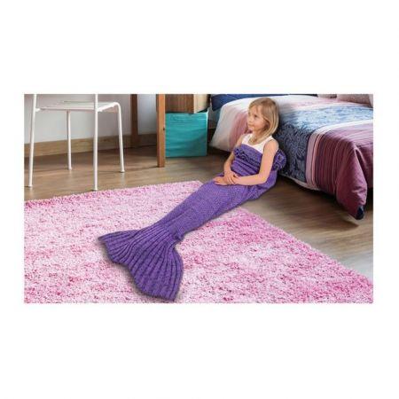 Παιδική Πλεκτή Κουβέρτα Γοργόνα 140 x 70 cm Χρώματος Μωβ KidsMermaid-Purple