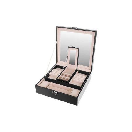 Κοσμηματοθήκη - Μπιζουτιέρα 25.5 x 25.5 x 9 cm Χρώματος Μαύρο - 8896