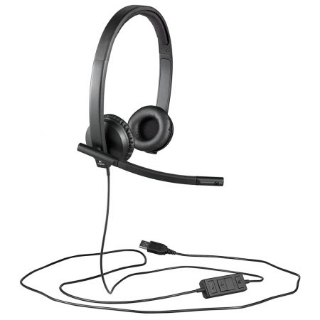 Logitech H570e Wired Headset with Noise-Cancelling Microphone, USB, In-Line - Business Product