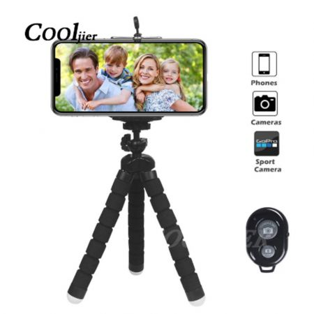 COOLJIER Flexible Sponge Octopus Mini Tripod With Bluetooth Remote Shutter For iPhone mini Camera Tripod Phone Holder clip stand - skroutz.com.cy