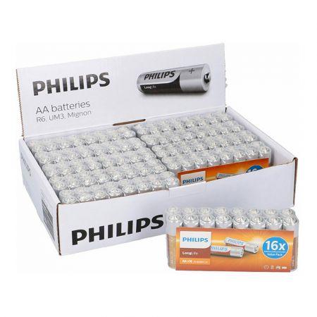 Σετ Μπαταρίες ΑΑ R6 Zinc LongLife 1.5 V 16 τμχ Philips 809-5903384122