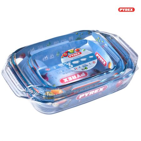 Pyrex 3 Irresistible 2 Glass Rectangular Roasters Easy Grip 1,4l - 3,1l - 4l - skroutz.com.cy
