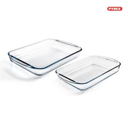 Pyrex Classic 2 Piece Rectangular Glass Baking Roasting Bake Roaster Dish Set - 912S799