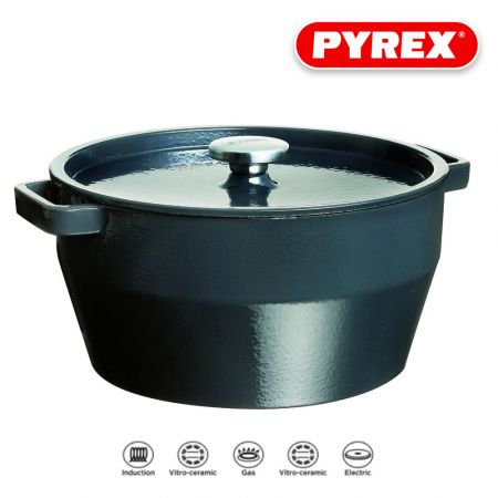 Pyrex SlowCook Cast iron grey Round Casserole - compatible with oven and induction hobs - 28 cm - skroutz.com.cy