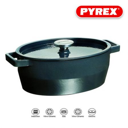 Pyrex SlowCook Cast iron grey oval Casserole - compatible with oven and induction hobs - 33 cm - skroutz.com.cy