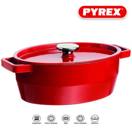SlowCook Cast iron red oval Casserole - compatible with oven and induction hobs 33cm - skroutz.com.cy