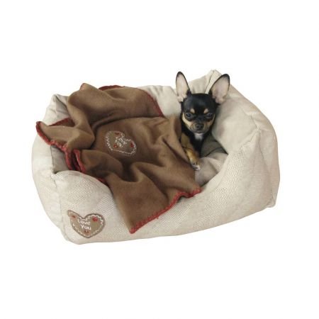 Μαλακό κρεβατάκι Snugly Bed Love You για το κατοικίδιο σας σε μπέζ χρώμα 47X37X17cm - skroutz.com.cy