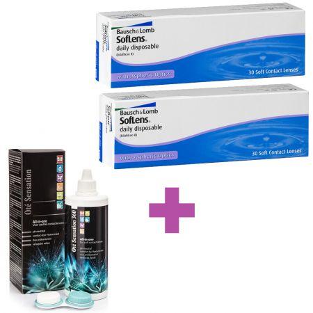60 Ημερήσιοι Φακοί Επαφής Bausch & Lomb SofLens Daily Disposable + 1 Υγρό Διάλυμα Φακών Επαφής 360ml - skroutz.com.cy