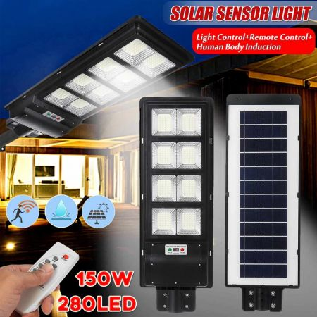 Ηλιακός Προβολέας Δρόμου με Ανιχνευτή Κίνησης 150w Solar Street Light - skroutz.com.cy