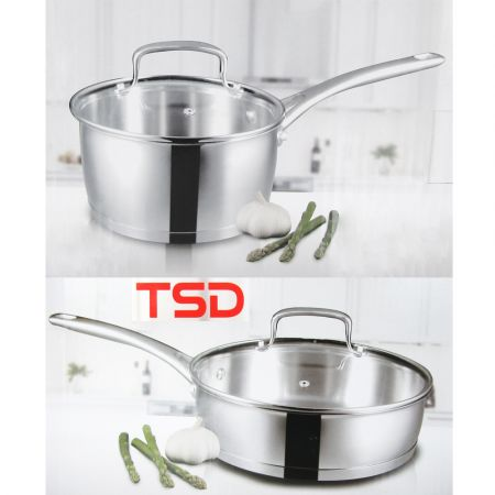 Set 3pcs Pans with lid High quality 18/10 stainless steel
