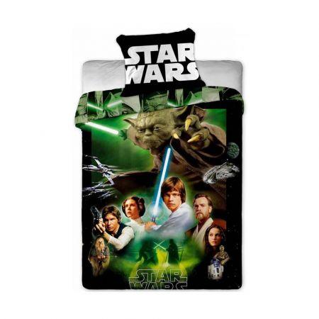 Star wars Green - Αυθεντικό Παιδικό Κάλυμμα Παπλώματος με Μαξιλαροθήκη - 140 x 200 cm