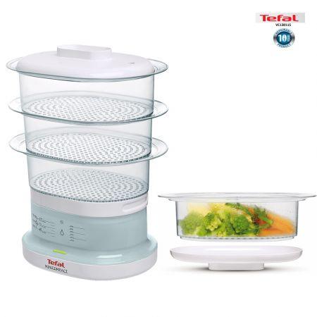 Tefal Mini Compact Steamer, 3 Dismantlable Plastic Bowls, White - VC130115 - skroutz.com.cy