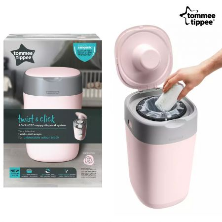 TOMMEE TIPPEE Κάδος Απόρριψης Παιδικής Πάνας & Κασέτα με Σακούλες 85101301 - Twist and Click Sangetic Tec Pink