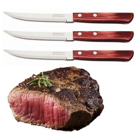 "SET 6 x TRAMONTINA STEAK KNIFE 5"" POLYWOOD 21CM 21199/764 p/p - skroutz.com.cy"